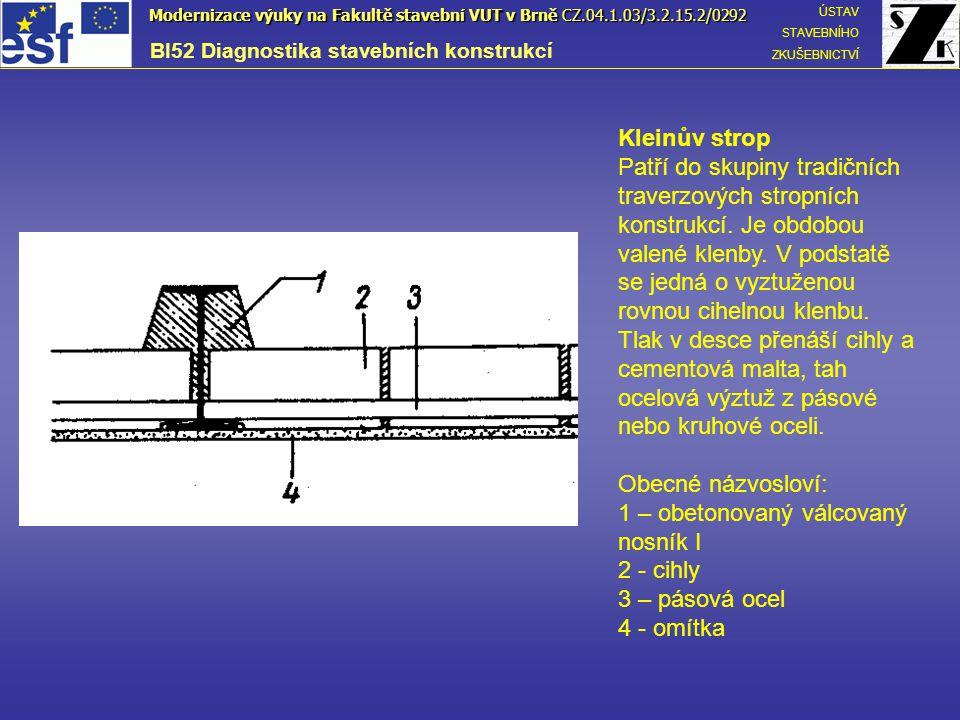 Koenenův strop Je konstruován tak, že mezi ocelovými nosníky je železobetonová deska, jejíž výztuž je háky zachycena za horní přírubu nosníku tvaru I.