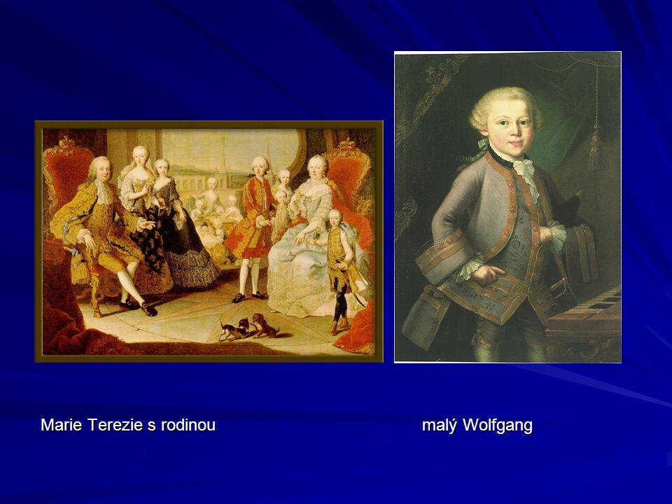 Marie Terezie s rodinou malý Wolfgang
