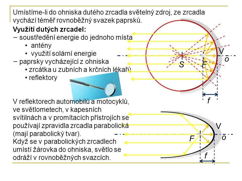 Využití dutých zrcadel: − soustředění energie do jednoho místa • antény • využití solární energie − paprsky vycházející z ohniska • zrcátka u zubních