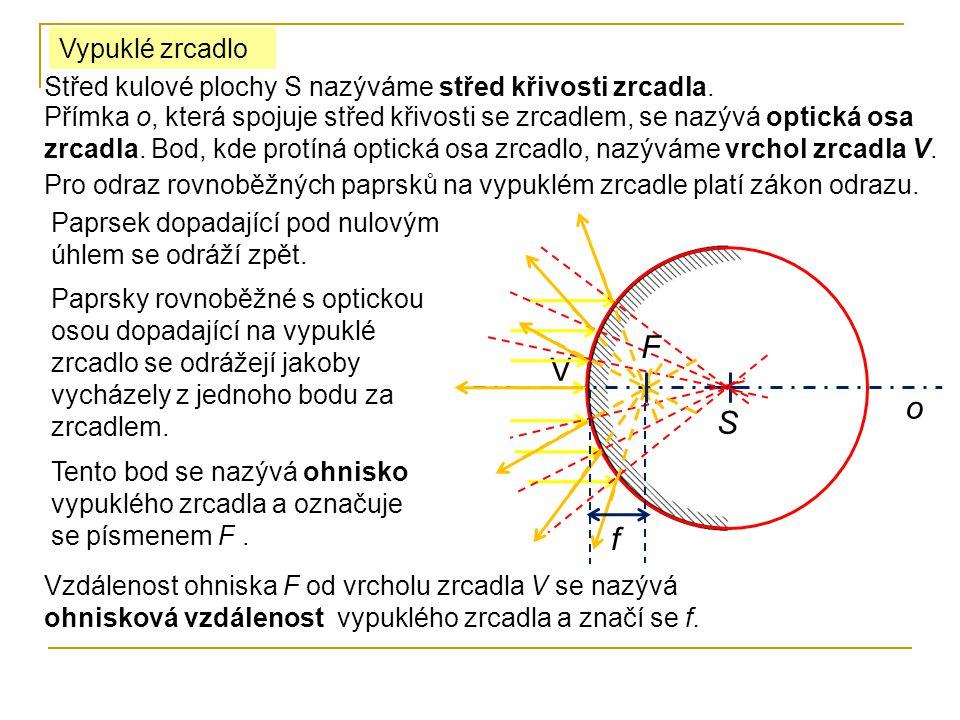 paprsek procházející ohniskem se odráží rovnoběžně s optickou osou.