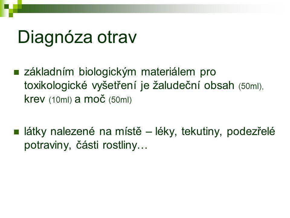 Diagnóza otrav  základním biologickým materiálem pro toxikologické vyšetření je žaludeční obsah (50ml), krev (10ml) a moč (50ml)  látky nalezené na