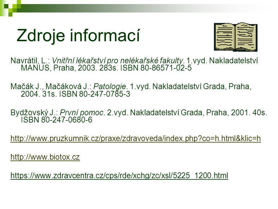Zdroje informací Navrátil, L.: Vnitřní lékařství pro nelékařské fakulty. 1.vyd. Nakladatelství MANUS, Praha, 2003. 283s. ISBN 80-86571-02-5 Mačák J.,