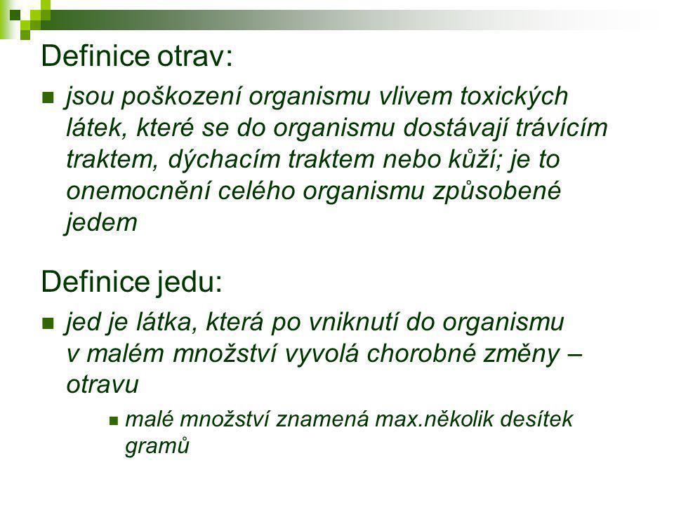 Definice otrav:  jsou poškození organismu vlivem toxických látek, které se do organismu dostávají trávícím traktem, dýchacím traktem nebo kůží; je to