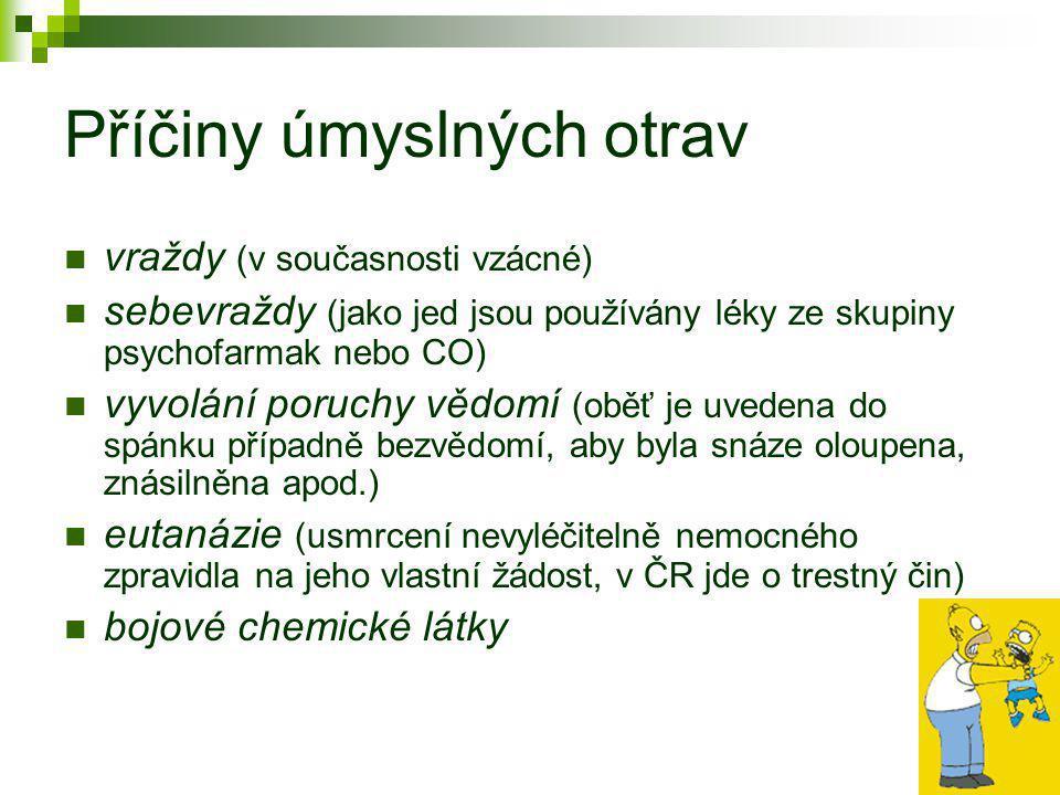 Nejčastější otravy… 1) Otrava CO, CO 2 2) Otrava fridexem (ethylenglykolem) 3) Otrava houbami 4) Otrava léky 5) Otrava alkoholem (etanolem) 6) Otrava ropnými produkty