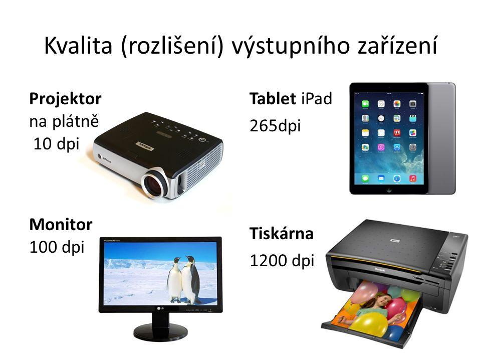 Projektor na plátně 10 dpi Monitor 100 dpi Kvalita (rozlišení) výstupního zařízení Tablet iPad 265dpi Tiskárna 1200 dpi