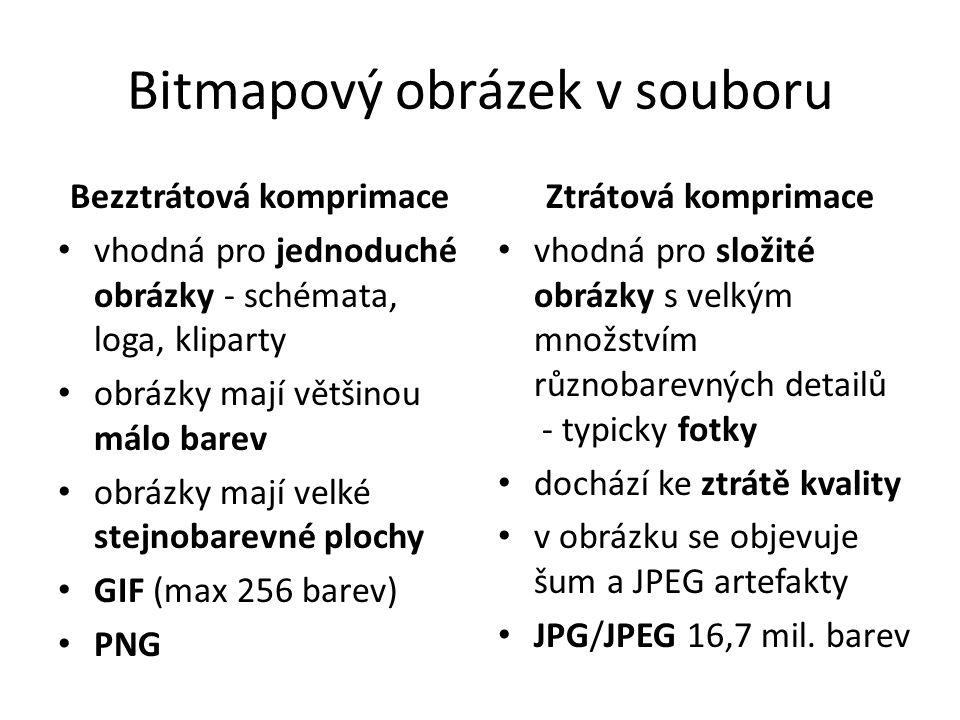 Bitmapový obrázek v souboru Bezztrátová komprimace • vhodná pro jednoduché obrázky - schémata, loga, kliparty • obrázky mají většinou málo barev • obr