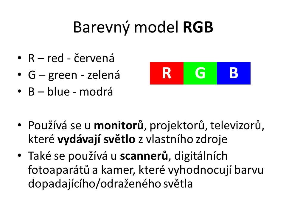 Barevný model RGB • R – red - červená • G – green - zelená • B – blue - modrá • Používá se u monitorů, projektorů, televizorů, které vydávají světlo z