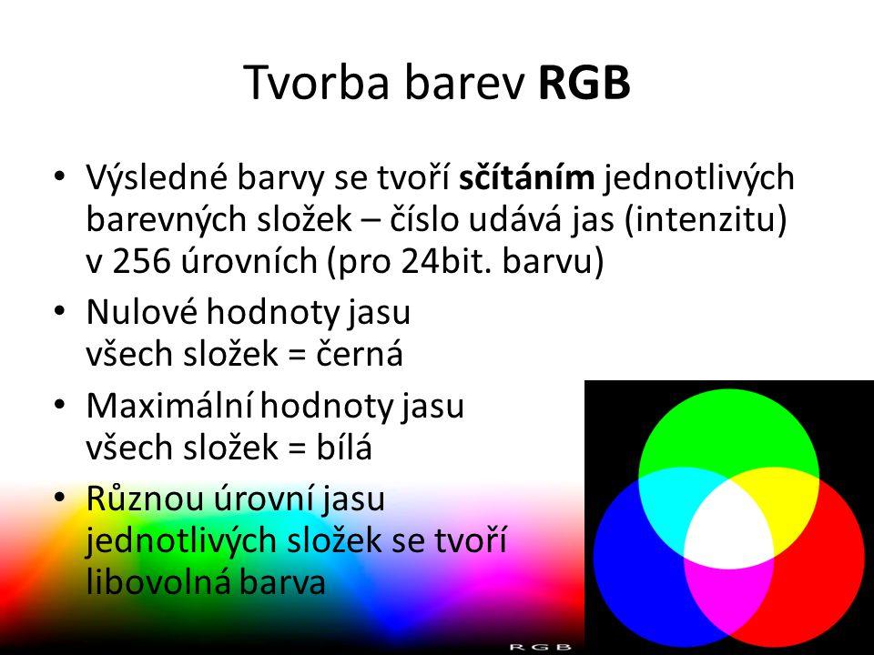Tvorba barev RGB • Výsledné barvy se tvoří sčítáním jednotlivých barevných složek – číslo udává jas (intenzitu) v 256 úrovních (pro 24bit. barvu) • Nu