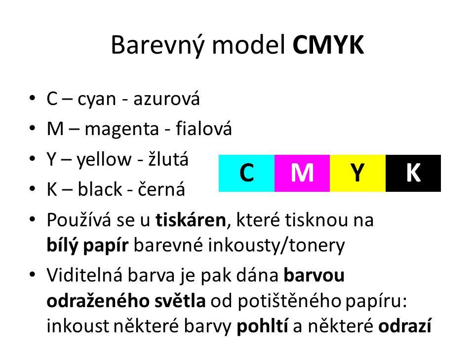 Barevný model CMYK • C – cyan - azurová • M – magenta - fialová • Y – yellow - žlutá • K – black - černá • Používá se u tiskáren, které tisknou na bíl
