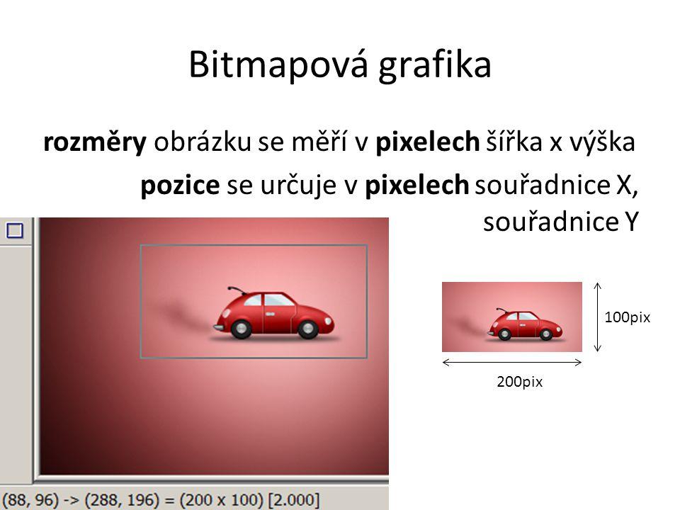 Bitmapová grafika rozměry obrázku se měří v pixelech šířka x výška pozice se určuje v pixelech souřadnice X, souřadnice Y 200pix 100pix