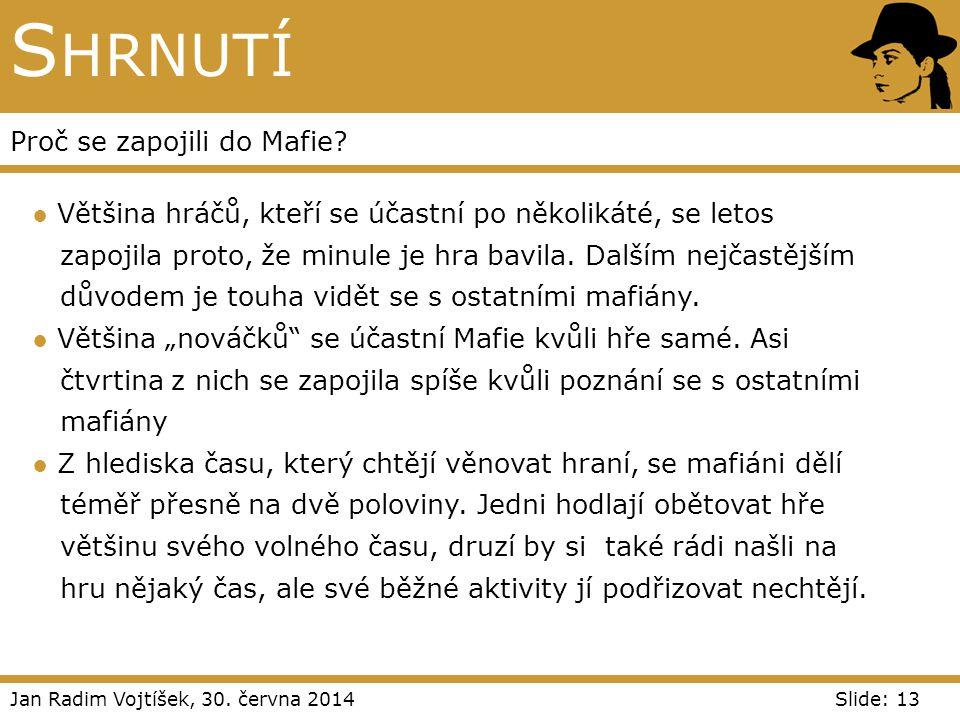 Jan Radim Vojtíšek, 30. června 2014Slide: 13 S HRNUTÍ Proč se zapojili do Mafie? ● Většina hráčů, kteří se účastní po několikáté, se letos zapojila pr