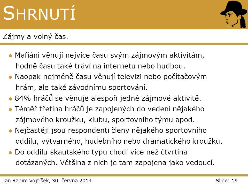 Jan Radim Vojtíšek, 30. června 2014Slide: 19 S HRNUTÍ Zájmy a volný čas. ● Mafiáni věnují nejvíce času svým zájmovým aktivitám, hodně času také tráví