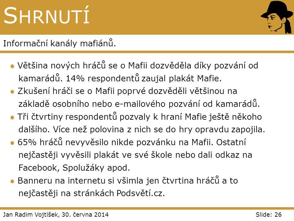Jan Radim Vojtíšek, 30. června 2014Slide: 26 S HRNUTÍ Informační kanály mafiánů. ● Většina nových hráčů se o Mafii dozvěděla díky pozvání od kamarádů.