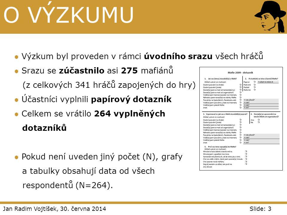 Jan Radim Vojtíšek, 30. června 2014Slide: 3 O VÝZKUMU ● Výzkum byl proveden v rámci úvodního srazu všech hráčů ● Srazu se zúčastnilo asi 275 mafiánů (