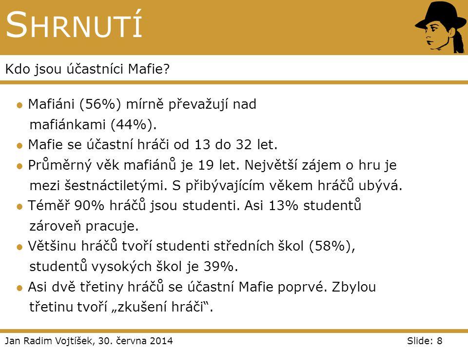 Jan Radim Vojtíšek, 30. června 2014Slide: 8 S HRNUTÍ Kdo jsou účastníci Mafie? ● Mafiáni (56%) mírně převažují nad mafiánkami (44%). ● Mafie se účastn