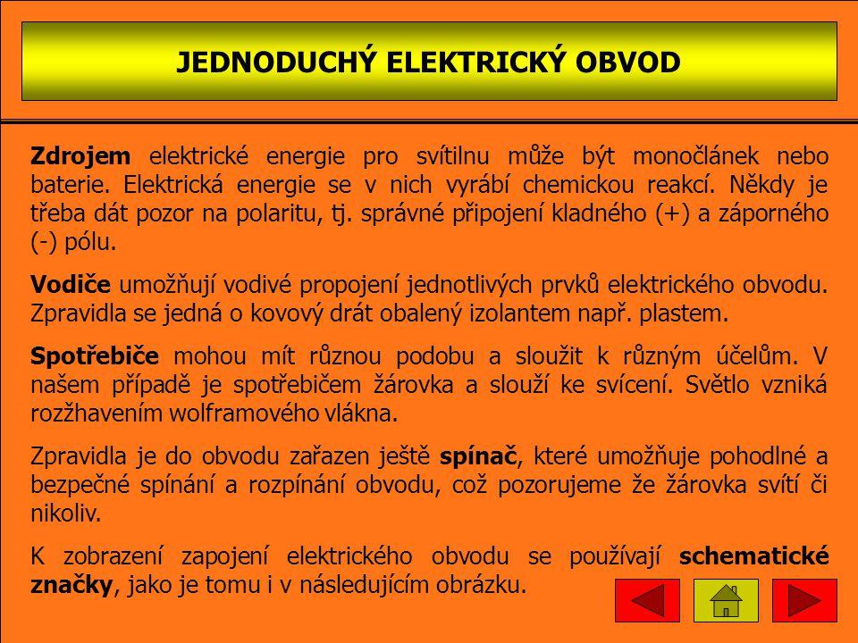 JEDNODUCHÝ ELEKTRICKÝ OBVOD Zdrojem elektrické energie pro svítilnu může být monočlánek nebo baterie.