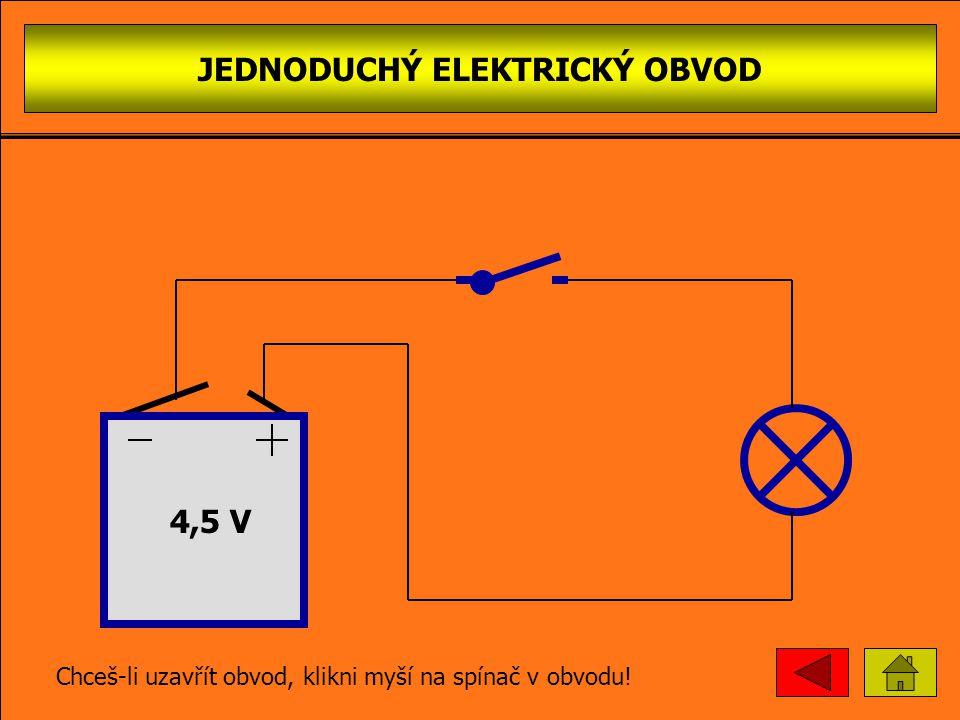 JEDNODUCHÝ ELEKTRICKÝ OBVOD spínač 4,5 V bateri e žárovk a vodič Chceš-li uzavřít obvod, klikni myší na spínač v obvodu!