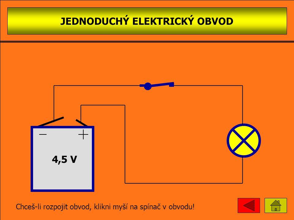 JEDNODUCHÝ ELEKTRICKÝ OBVOD 4,5 V Chceš-li rozpojit obvod, klikni myší na spínač v obvodu!