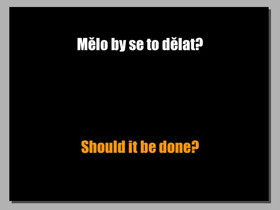 Mělo by se to dělat? Should it be done?