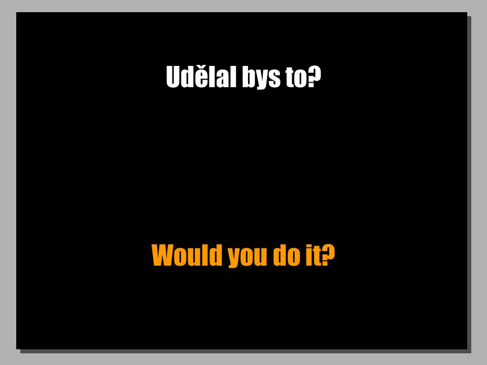 Udělal bys to Would you do it