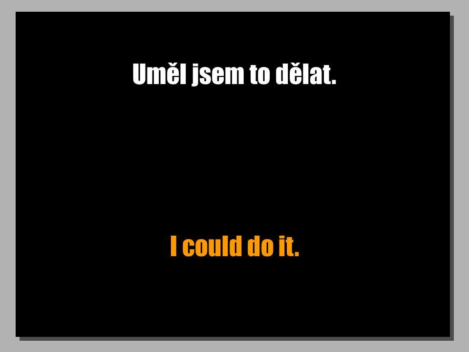 Uměl jsem to dělat. I could do it.