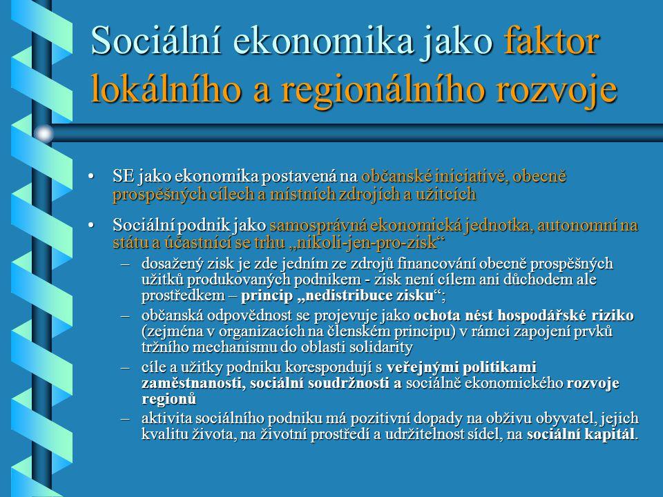 """Sociální ekonomika jako faktor lokálního a regionálního rozvoje •SE jako ekonomika postavená na občanské iniciativě, obecně prospěšných cílech a místních zdrojích a užitcích •Sociální podnik jako samosprávná ekonomická jednotka, autonomní na státu a účastnící se trhu """"nikoli-jen-pro-zisk –dosažený zisk je zde jedním ze zdrojů financování obecně prospěšných užitků produkovaných podnikem - zisk není cílem ani důchodem ale prostředkem – princip """"nedistribuce zisku ; –občanská odpovědnost se projevuje jako ochota nést hospodářské riziko (zejména v organizacích na členském principu) v rámci zapojení prvků tržního mechanismu do oblasti solidarity –cíle a užitky podniku korespondují s veřejnými politikami zaměstnanosti, sociální soudržnosti a sociálně ekonomického rozvoje regionů –aktivita sociálního podniku má pozitivní dopady na obživu obyvatel, jejich kvalitu života, na životní prostředí a udržitelnost sídel, na sociální kapitál."""