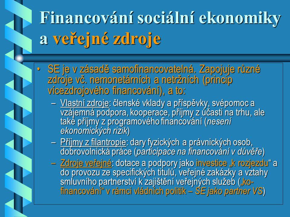 Financování sociální ekonomiky a veřejné zdroje •SE je v zásadě samofinancovatelná.