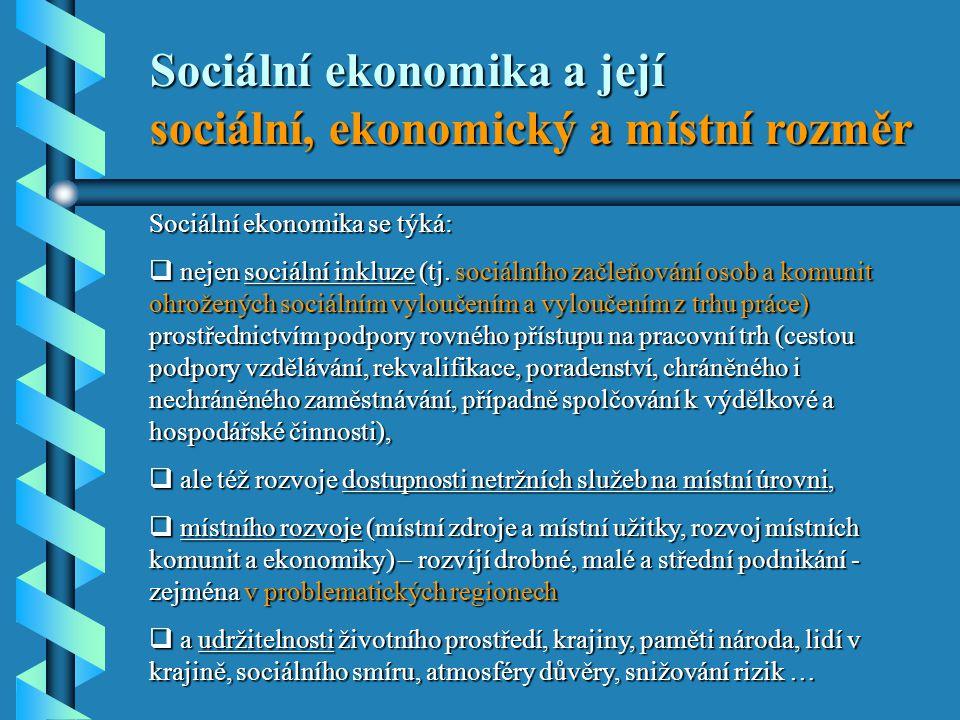 Sociální ekonomika se týká:  nejen sociální inkluze (tj.