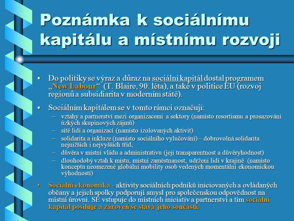 """Poznámka k sociálnímu kapitálu a místnímu rozvoji •Do politiky se výraz a důraz na sociální kapitál dostal programem """"New Labour (T."""
