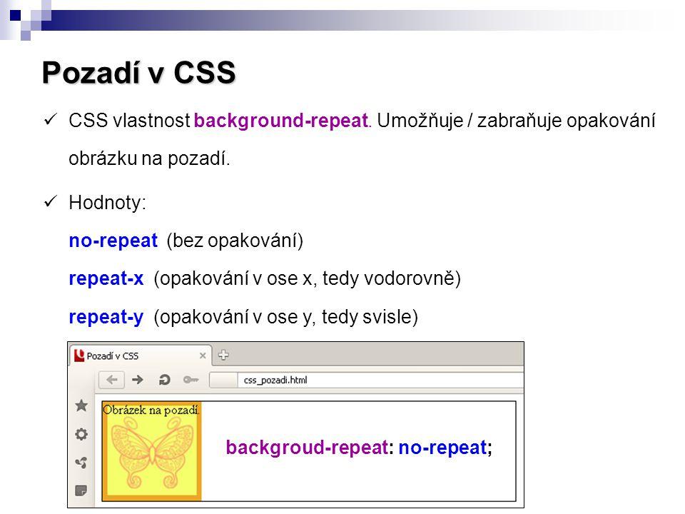 Pozadí v CSS  CSS vlastnost background-position určuje pozici obrázku na pozadí.