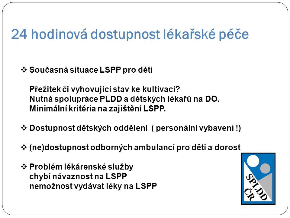 24 hodinová dostupnost lékařské péče  Současná situace LSPP pro děti Přežitek či vyhovující stav ke kultivaci? Nutná spolupráce PLDD a dětských lékař
