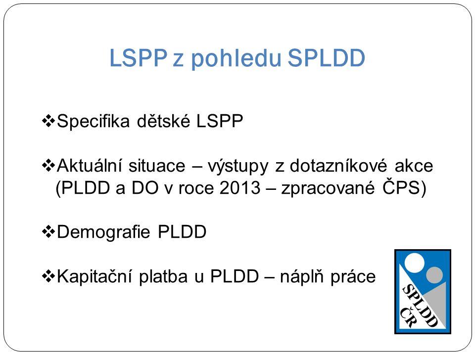 LSPP z pohledu SPLDD  Specifika dětské LSPP  Aktuální situace – výstupy z dotazníkové akce (PLDD a DO v roce 2013 – zpracované ČPS)  Demografie PLD