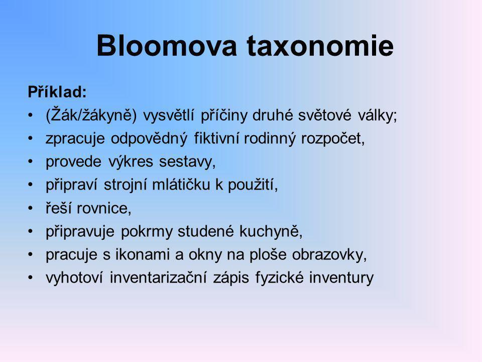 Bloomova taxonomie Příklad: •(Žák/žákyně) vysvětlí příčiny druhé světové války; •zpracuje odpovědný fiktivní rodinný rozpočet, •provede výkres sestavy, •připraví strojní mlátičku k použití, •řeší rovnice, •připravuje pokrmy studené kuchyně, •pracuje s ikonami a okny na ploše obrazovky, •vyhotoví inventarizační zápis fyzické inventury