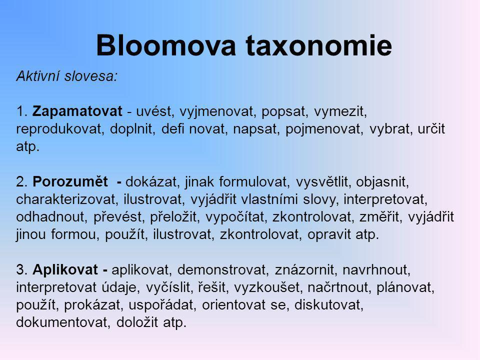 Bloomova taxonomie Aktivní slovesa: 1. Zapamatovat - uvést, vyjmenovat, popsat, vymezit, reprodukovat, doplnit, defi novat, napsat, pojmenovat, vybrat
