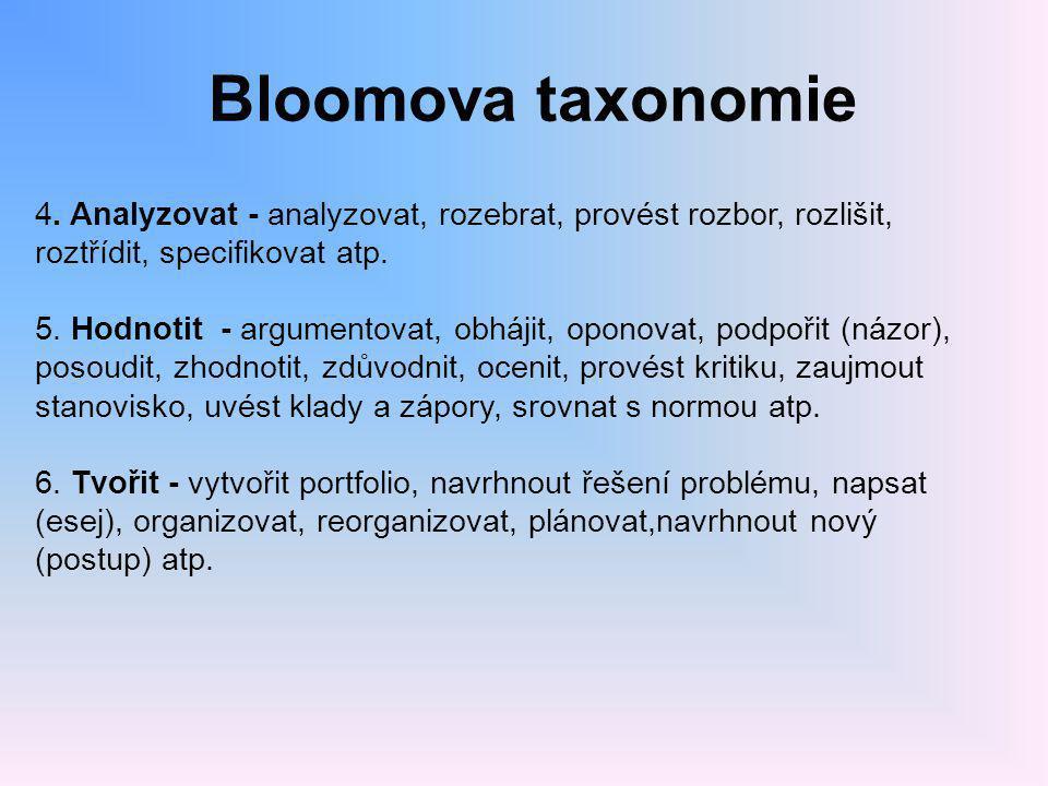 Bloomova taxonomie 4. Analyzovat - analyzovat, rozebrat, provést rozbor, rozlišit, roztřídit, specifikovat atp. 5. Hodnotit - argumentovat, obhájit, o