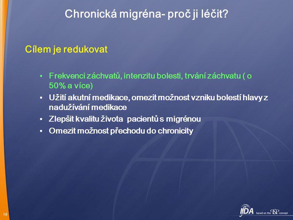 10 Chronická migréna- proč ji léčit? Cílem je redukovat • Frekvenci záchvatů, intenzitu bolesti, trvání záchvatu ( o 50% a více) • Užití akutní medika