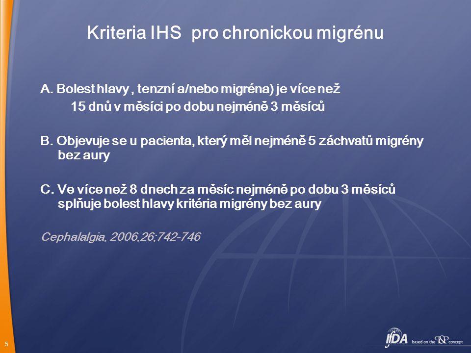 5 Kriteria IHS pro chronickou migrénu A. Bolest hlavy ' tenzní a/nebo migréna) je více než 15 dnů v měsíci po dobu nejméně 3 měsíců B. Objevuje se u p
