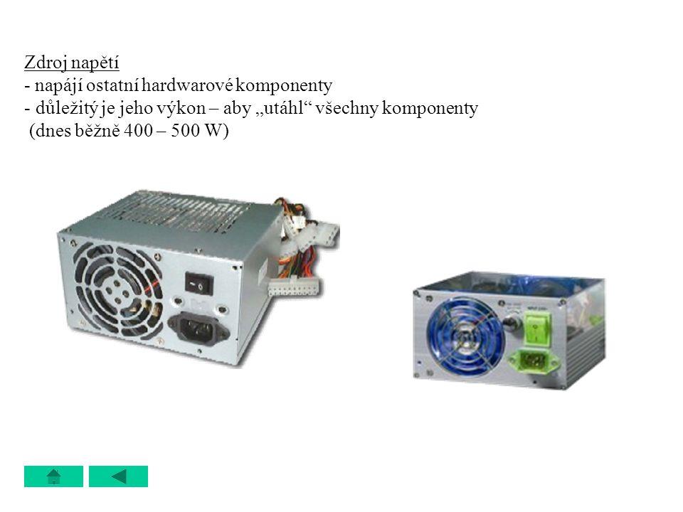 """Zdroj napětí - napájí ostatní hardwarové komponenty - důležitý je jeho výkon – aby """"utáhl"""" všechny komponenty (dnes běžně 400 – 500 W)"""