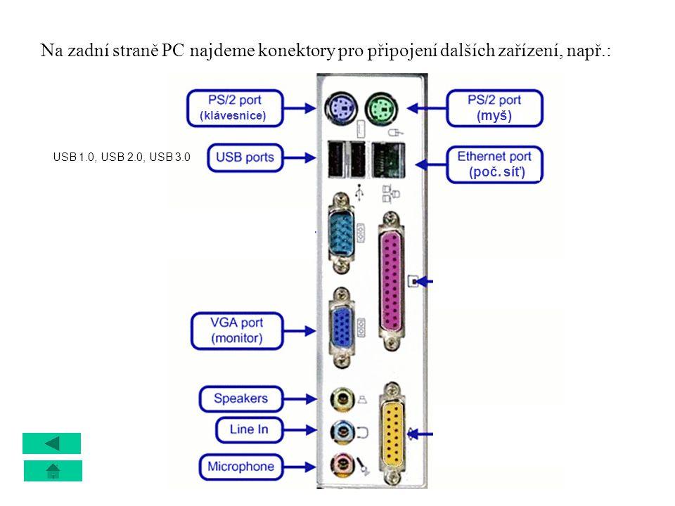 Na zadní straně PC najdeme konektory pro připojení dalších zařízení, např.: (myš) (klávesnice) (poč. síť) USB 1.0, USB 2.0, USB 3.0 staré typy tiskáre
