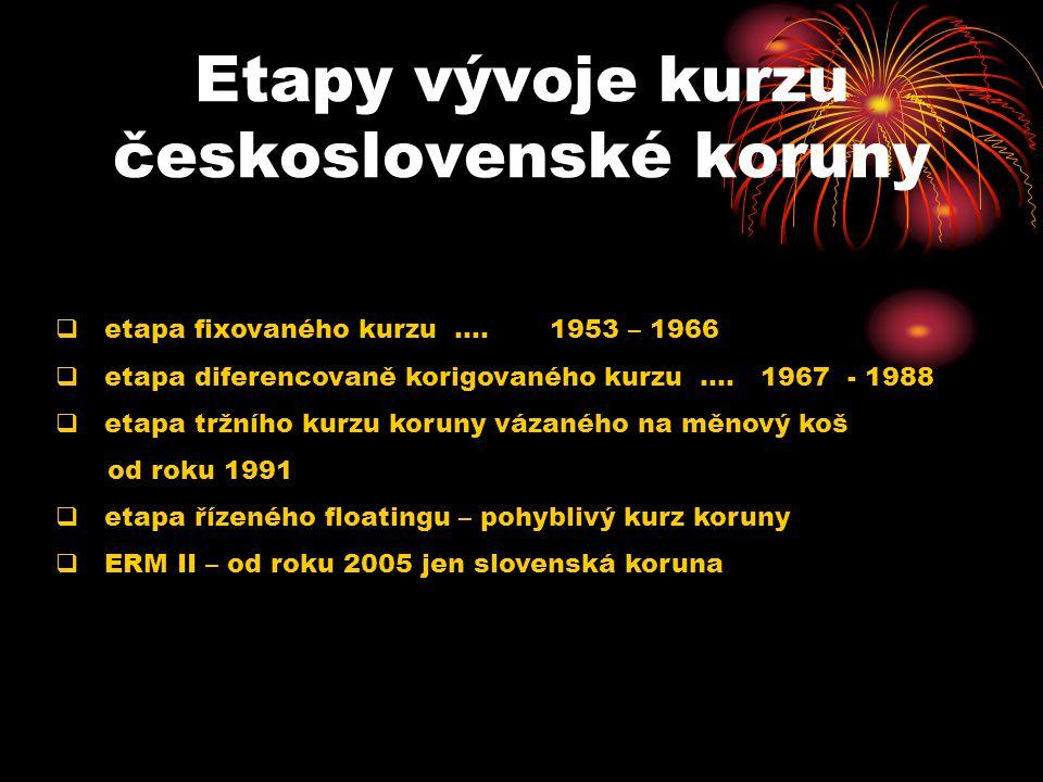 Etapy vývoje kurzu československé koruny  etapa fixovaného kurzu.... 1953 – 1966  etapa diferencovaně korigovaného kurzu.... 1967 - 1988  etapa trž