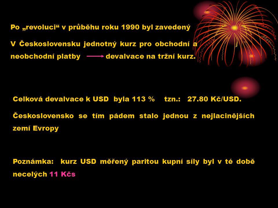 """Po """"revoluci"""" v průběhu roku 1990 byl zavedený V Československu jednotný kurz pro obchodní a neobchodní platby devalvace na tržní kurz. Celková devalv"""