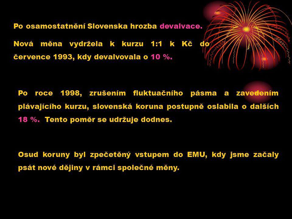 Po osamostatnění Slovenska hrozba devalvace. Nová měna vydržela k kurzu 1:1 k Kč do července 1993, kdy devalvovala o 10 %. Po roce 1998, zrušením fluk