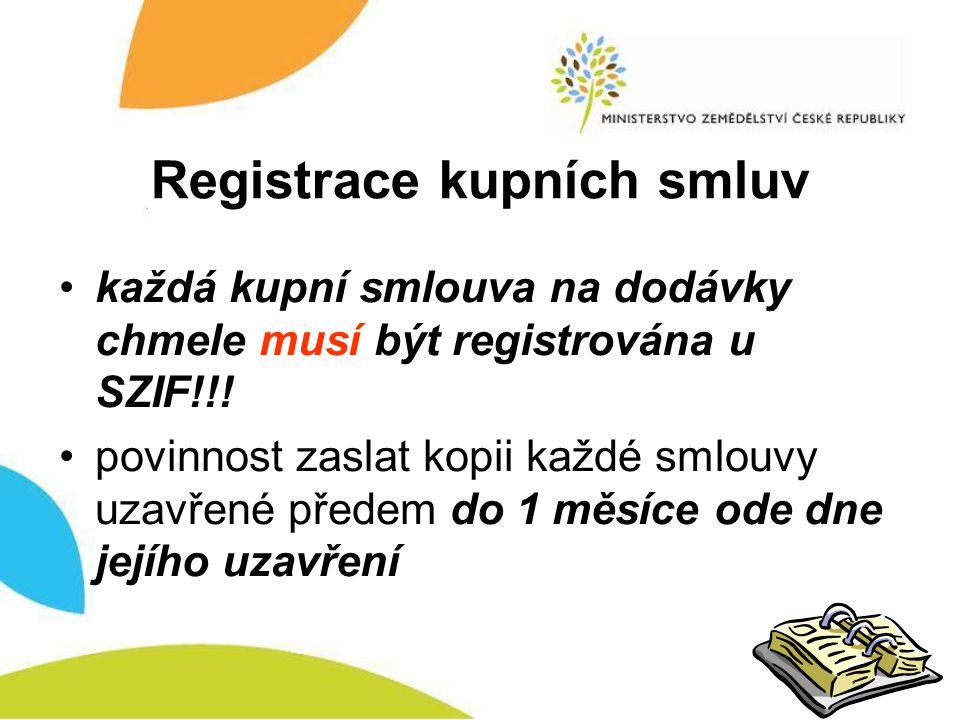 Registrace kupních smluv •každá kupní smlouva na dodávky chmele musí být registrována u SZIF!!! •povinnost zaslat kopii každé smlouvy uzavřené předem