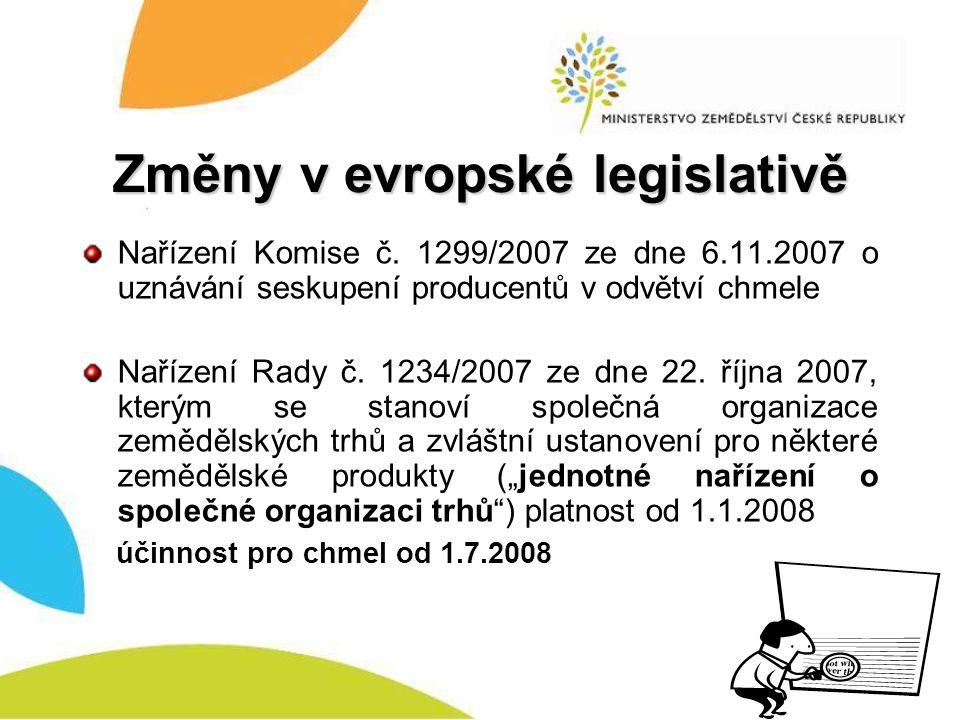 Změny v evropské legislativě Nařízení Komise č. 1299/2007 ze dne 6.11.2007 o uznávání seskupení producentů v odvětví chmele Nařízení Rady č. 1234/2007