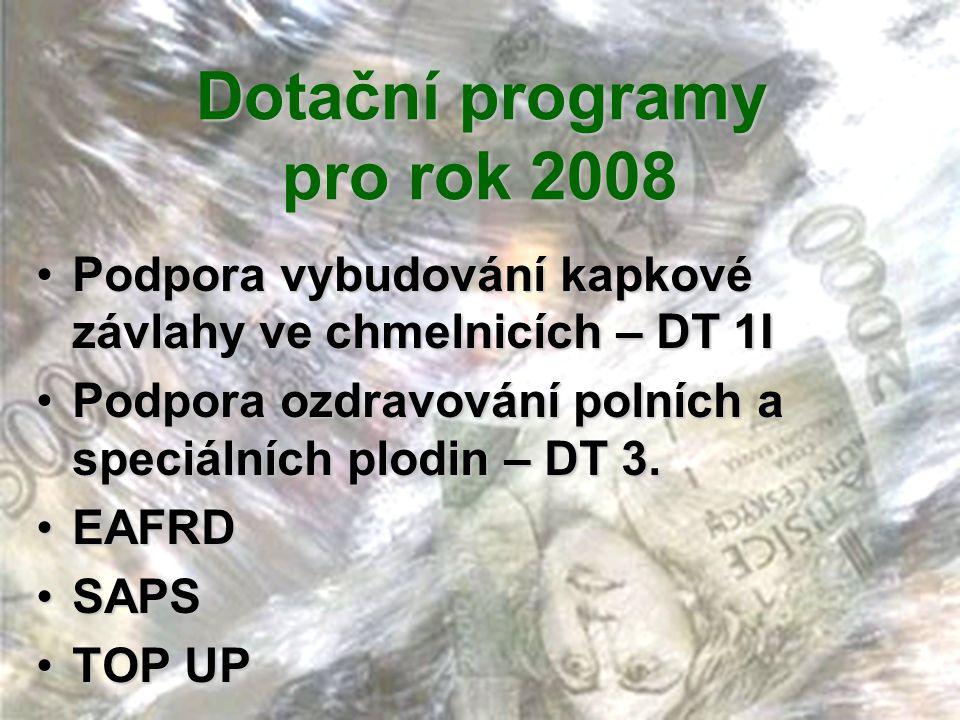 Dotační programy pro rok 2008 •Podpora vybudování kapkové závlahy ve chmelnicích – DT 1I •Podpora ozdravování polních a speciálních plodin – DT 3. •EA