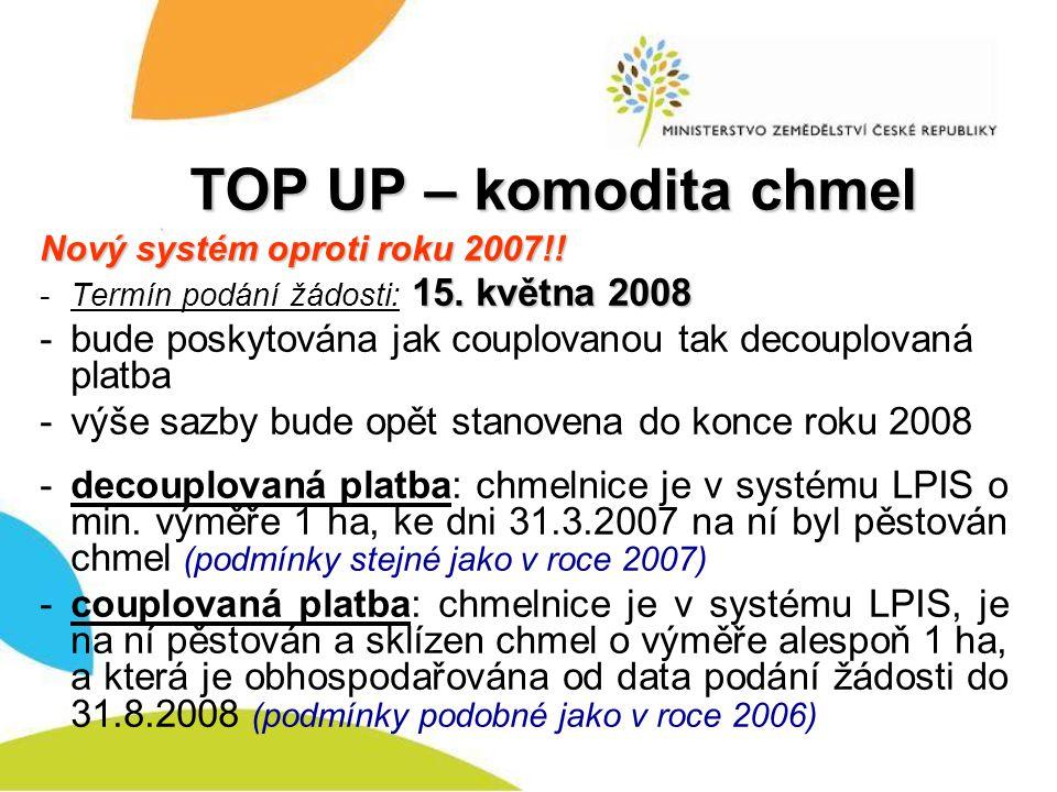 TOP UP – komodita chmel Nový systém oproti roku 2007!! 15. května 2008 -Termín podání žádosti: 15. května 2008 -bude poskytována jak couplovanou tak d