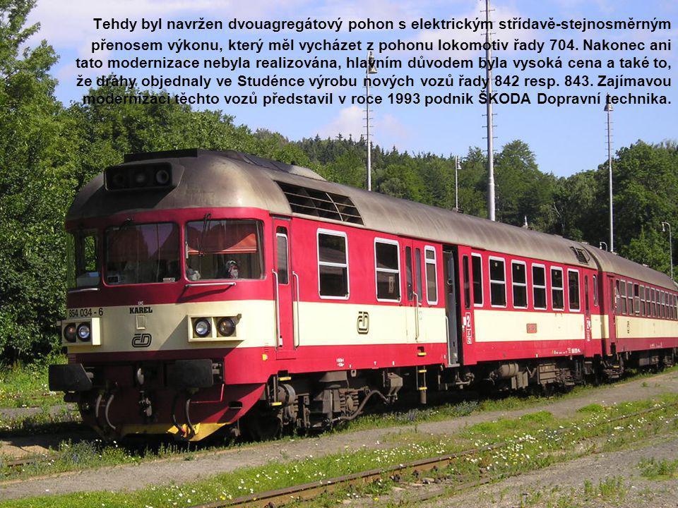 Tehdy byl navržen dvouagregátový pohon s elektrickým střídavě-stejnosměrným přenosem výkonu, který měl vycházet z pohonu lokomotiv řady 704. Nakonec a