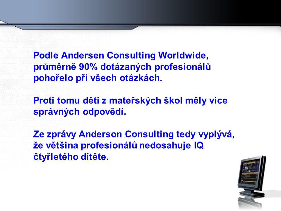 Podle Andersen Consulting Worldwide, průměrně 90% dotázaných profesionálů pohořelo při všech otázkách.