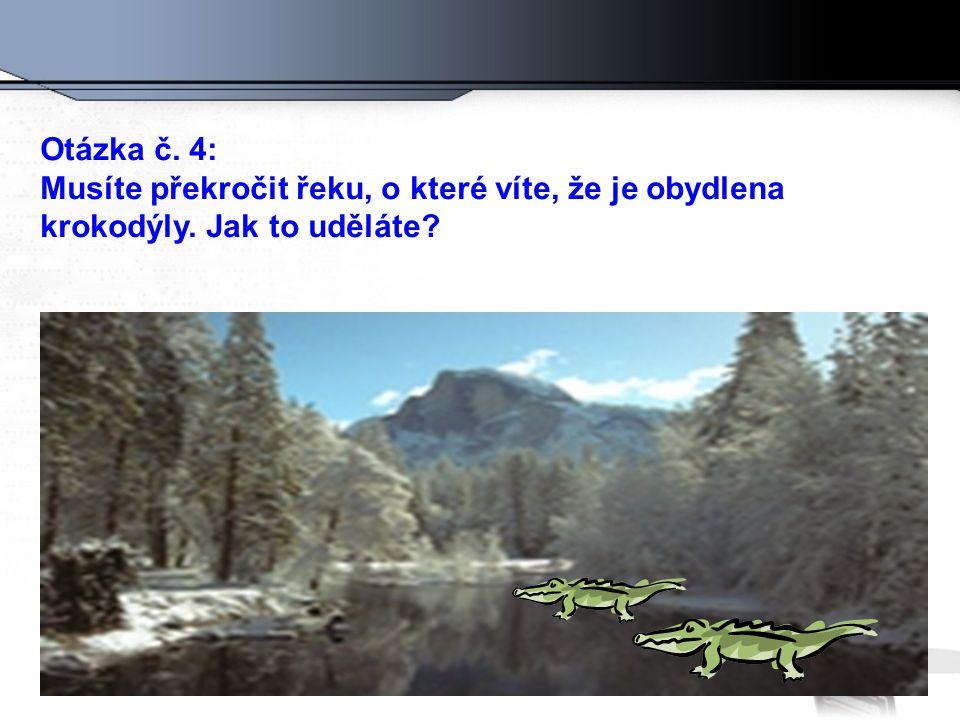 Otázka č. 4: Musíte překročit řeku, o které víte, že je obydlena krokodýly. Jak to uděláte