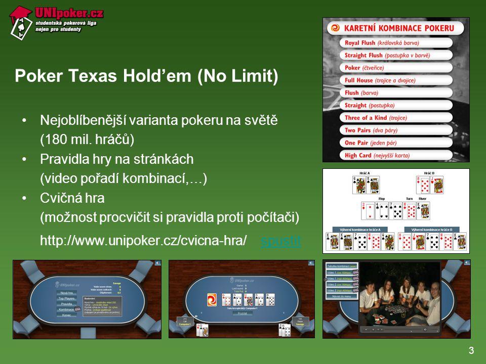 3 Poker Texas Hold'em (No Limit) •Nejoblíbenější varianta pokeru na světě (180 mil.